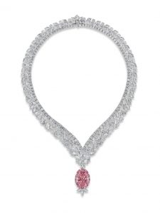 JULIET PINK DIAMOND SET AS A PENDANT TO A WHITE DIAMOND NECKLACE