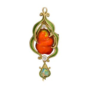 Lot 2000 Marcus & Co. Phantom Fire Opal Art Nouveau Brooch Sold for: $10,625