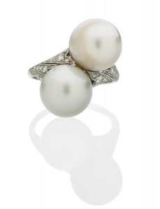 Lot 2431 Natural Saltwater Pearl & Platinum Belle Epoque Ring Sold for: $23,750