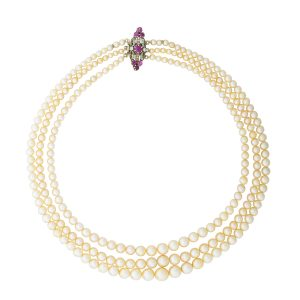 Lot 2433 Predominantly Natural Pearl Necklace Sold for: $56,250