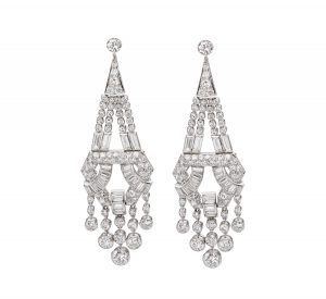 Lot 2441 Art Deco Diamond & Platinum Chandelier Earrings Sold for: $23,750