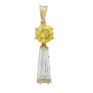 Lot 2442 Fancy Vivid Yellow & White Diamond Pendant Sold for: $27,500