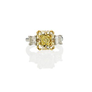 Lot 2444 4.01 Cts. Fancy Light Yellow Diamond & Platinum Ring Sold for: $28,750