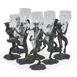 Lot 647 Patrick Laroche Bronze Satyr Vessel Set Sold for: $2,750
