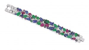 Lot 408 - A Rare Platinum, Colored Stone and Diamond 'Tutti Frutti' Bracelet, Cartier, London