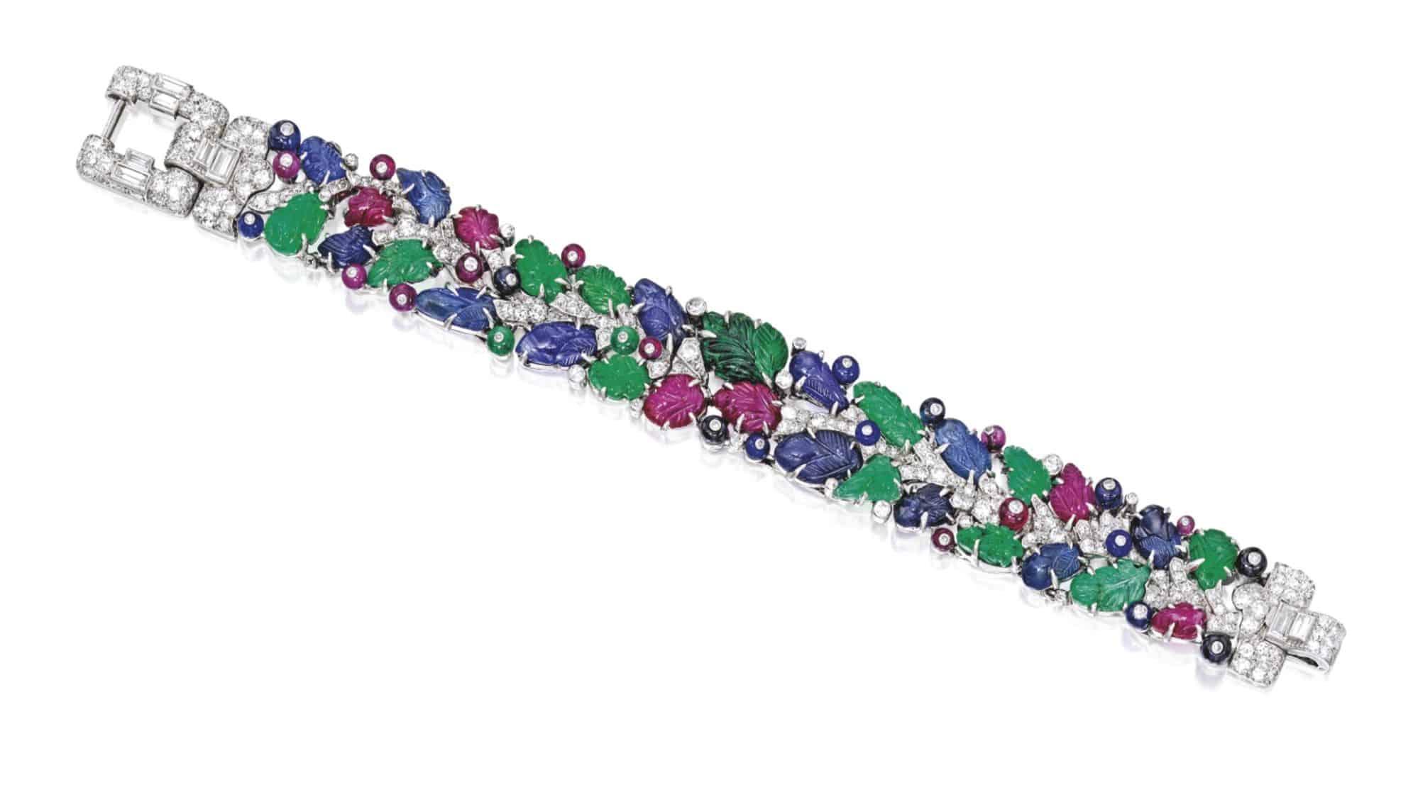 Lot 408 - A Rare Platinum, Colored Stone and Diamond 'Tutti Frutti' Bracelet, Cartier, London