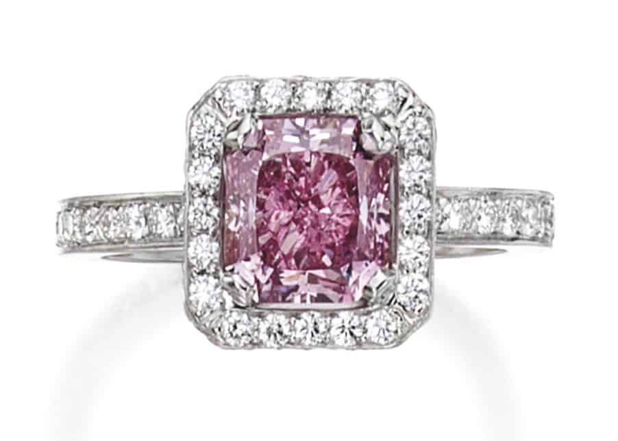 Lot 280 - Platinum, Fancy Intense Purplish Pink Diamond and Diamond Ring