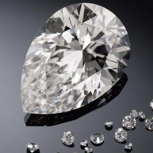 The 228.31-carat, pear-shaped,G-color, VS1 clarity Harrods Diamond