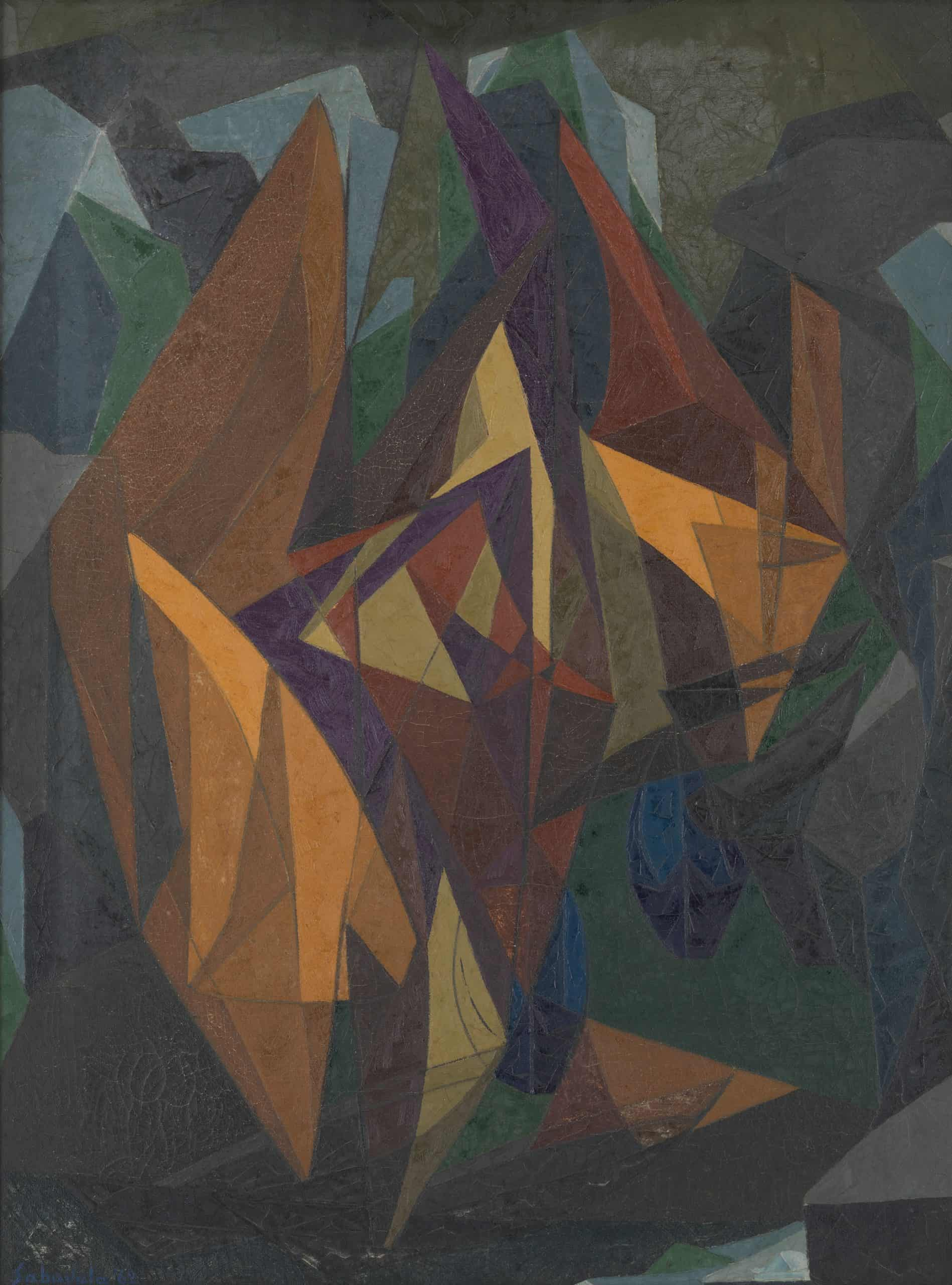 Lot 12 - Jehangir SabavalaGÇÖs Down To A Sunless Sea, 1962, with a pre-sale estimate of INR 50 GÇô 70 lakhs (USD 75,760 GÇô 106,065), sold at INR 1.14 crores (USD 172,727)