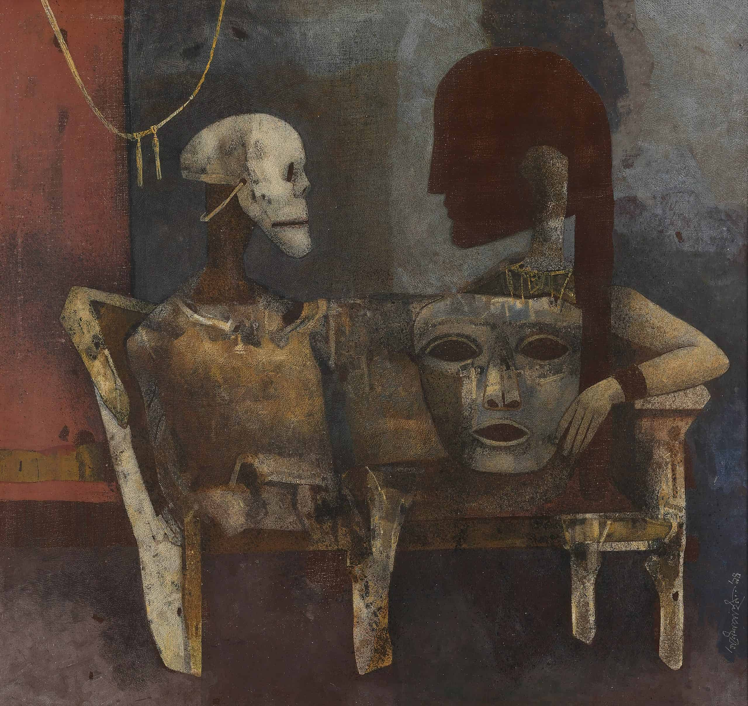 Lot 36 - Ganesh PyneGÇÖs The Masks, 1994, exceeded its pre-sale estimate of INR 55 GÇô 65 lakhs (USD 83,335 GÇô 98,485) and sold at INR 1.32 crores (USD 200,000)