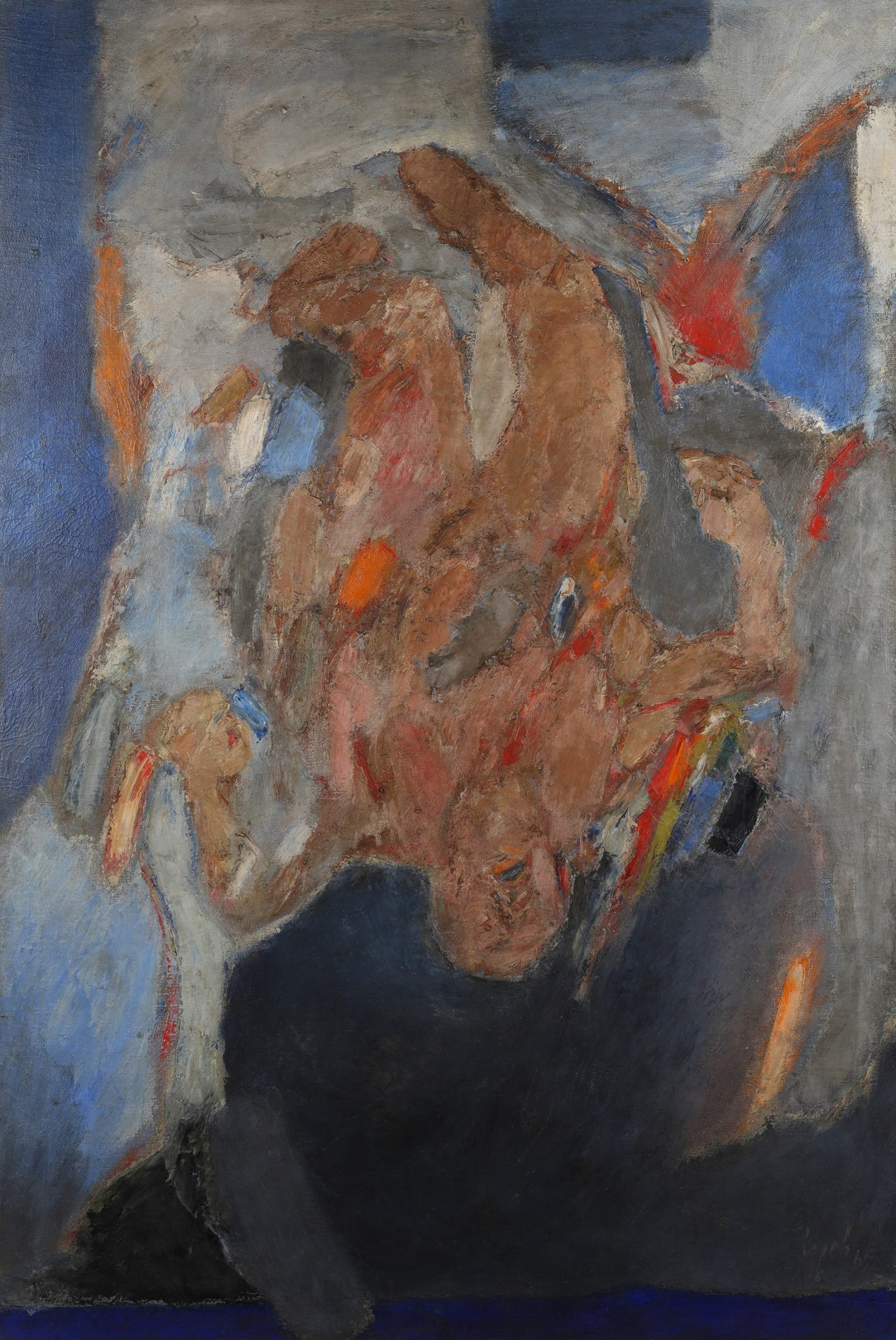 Lot 46 GÇô Tyeb MehtaGÇÖs Falling Figure, painted in 1965, led SaffronartGÇÖs Evening Sale at INR 6 crores (USD 909,091)