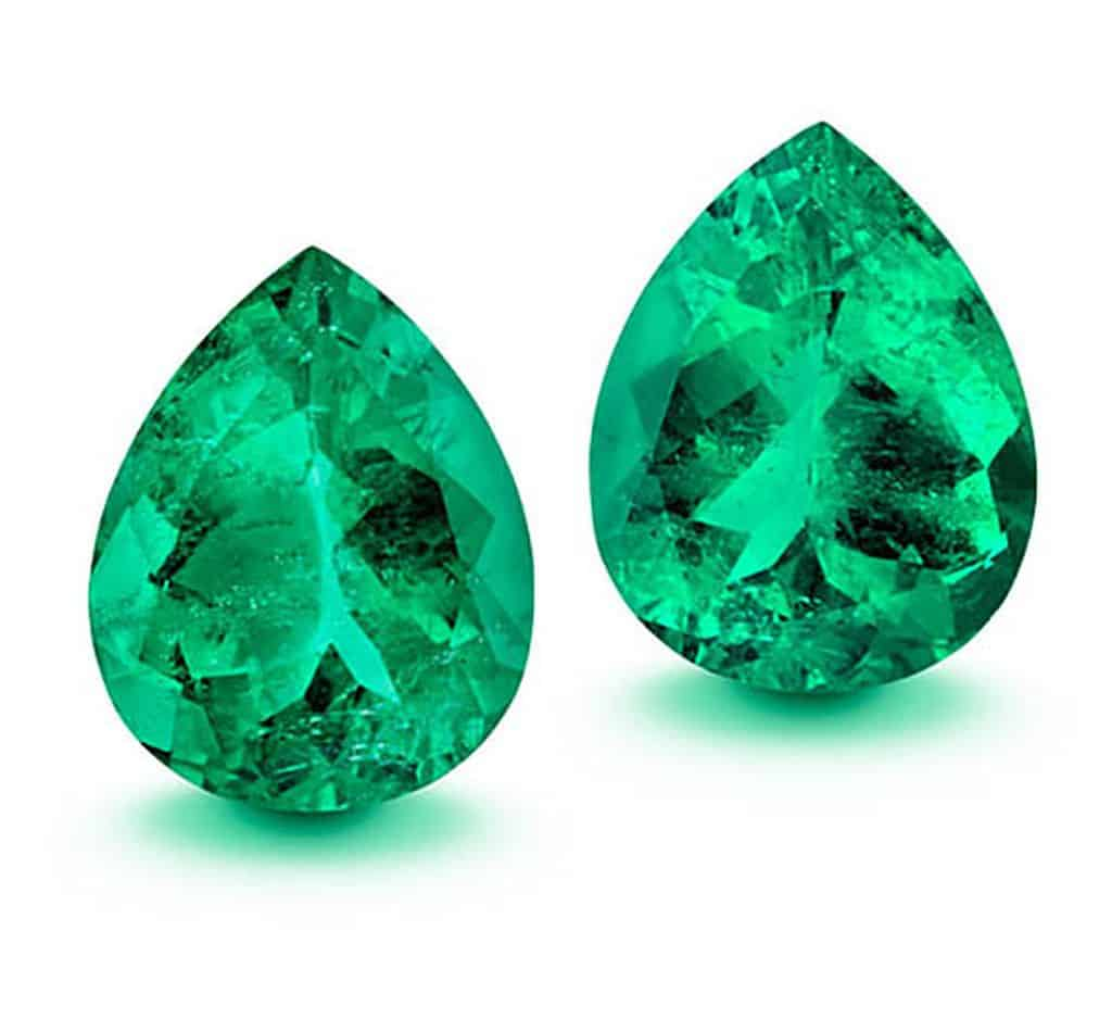 Lot 5 - The Tears of Fura, matching pair of teardrop shaped emeralds