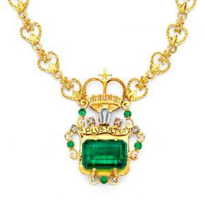 Lot 4 - Corona de Muzo Emerald and Diamond Pendant Necklace