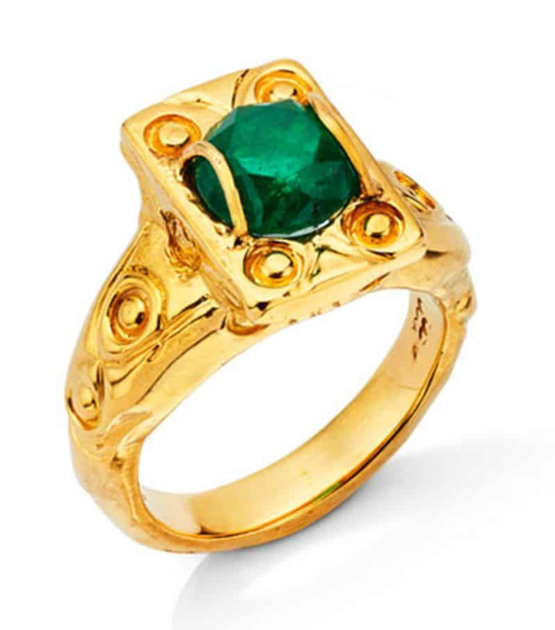 Lot 26 - Luz de las Marquesas - The Light of the Marquesas Emerald and Yellow Gold Ring