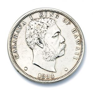 Lot 39 - King Kalakawa Coin - 1883 Silver One Dollar Hawaiin Coin