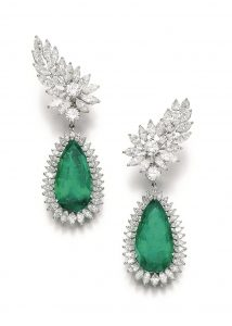 Lot 111 - Pair of Emerald and Diamond Earclips