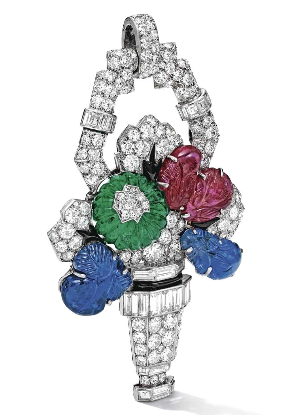 Lot 1703 - Flower Vase Pendant of the Rare Gem Set and Diamond Pendent Necklace, Mauboussin