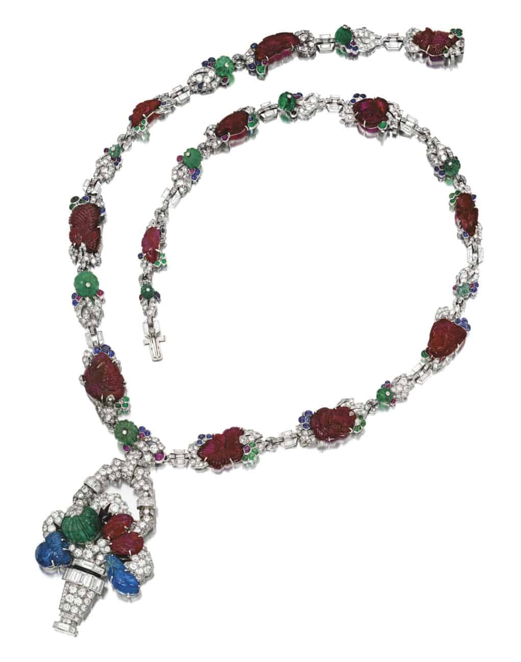 Lot 1703 - Rare Gem Set and Diamond Pendant Necklace, Mauboussin