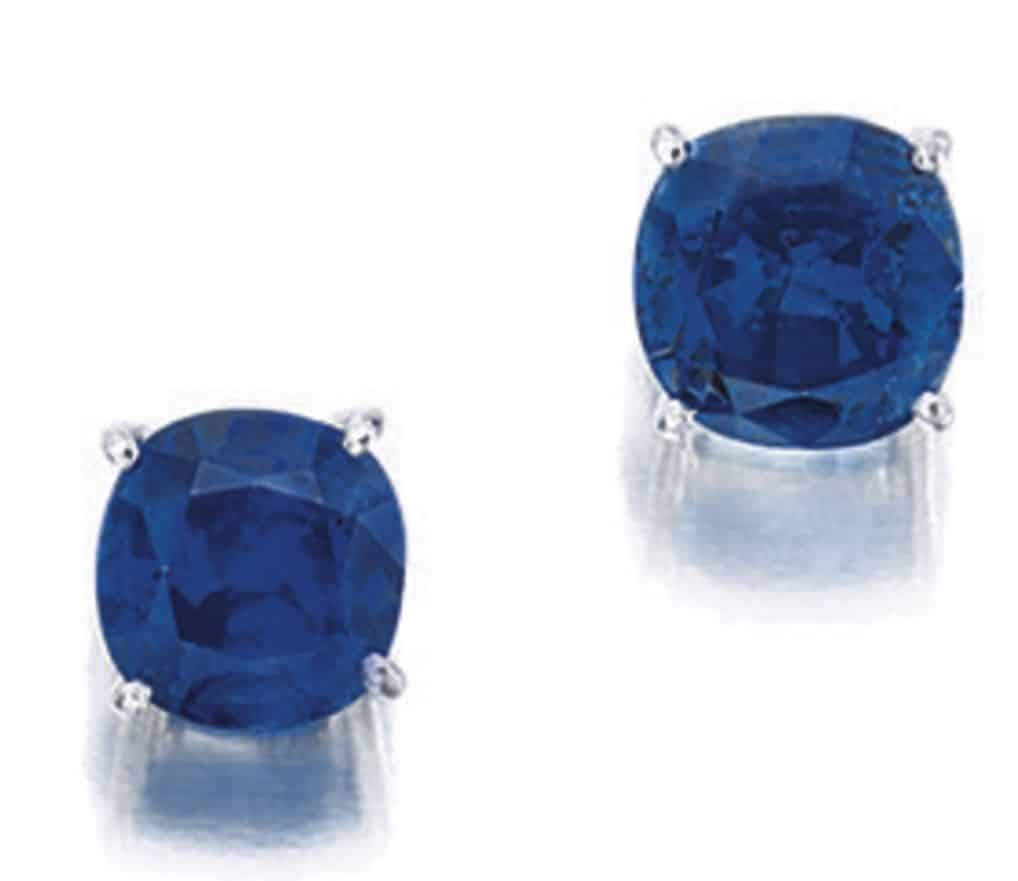 Lot 1793 - Pair of Sapphire Ear Studs