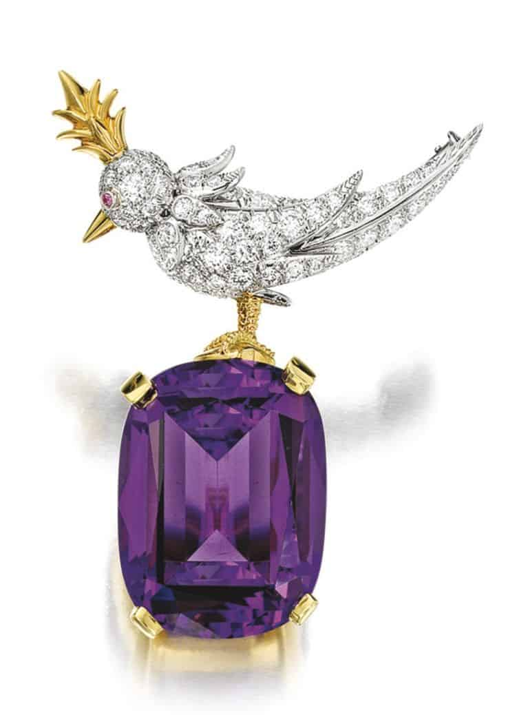 Lot 1606 - Amethyst and Diamond 'Bird on a Rock' Brooch, by Schlumberger for Tiffany & Co.