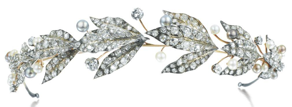 Lot 361 - Natural Pearl and Diamond Tiara, Chaumet