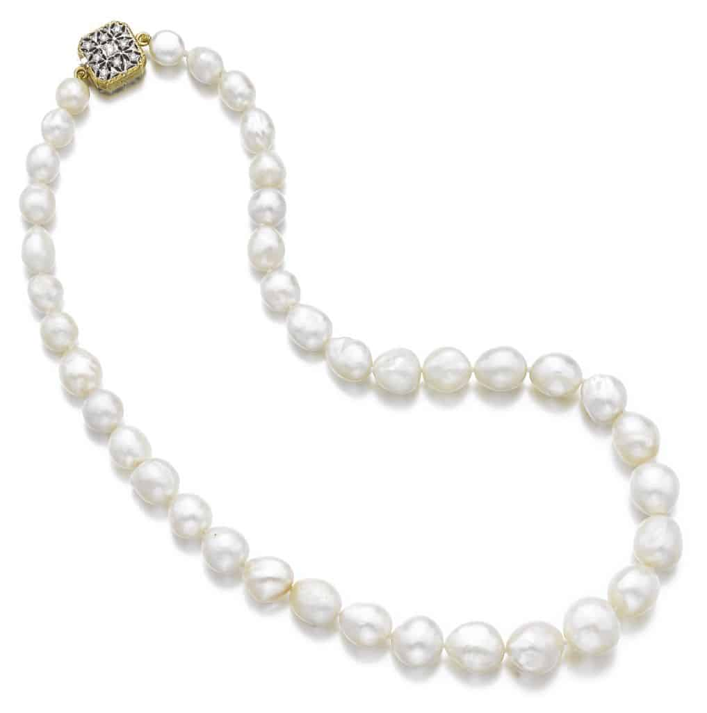 Lot 96 - Natural Pearl and Diamond Necklace