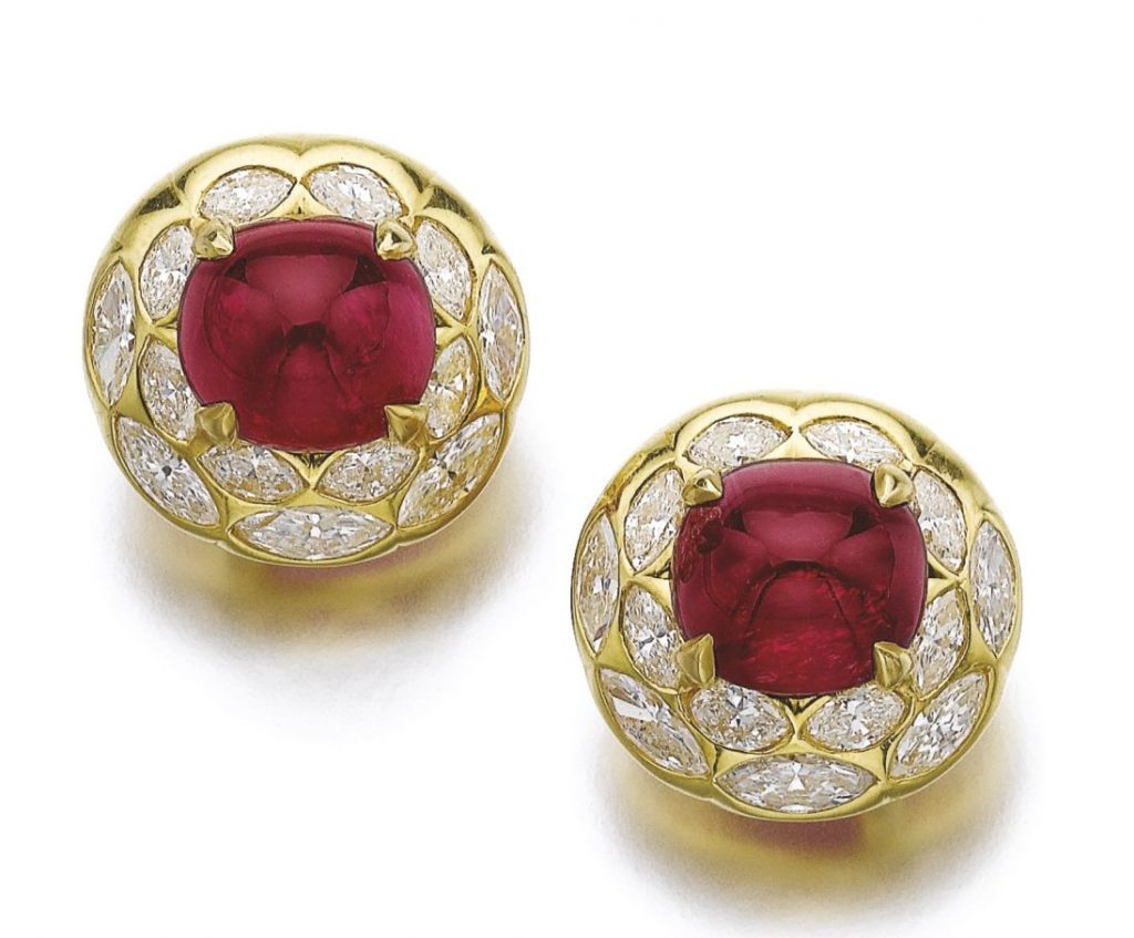 Lot 328A - Pair of Attractive Ruby and Diamond Ear Clips, Bulgari