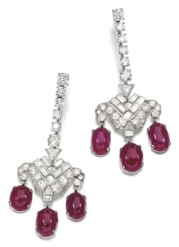 Lot 197 - Pair of Ruby and diamond Pendent Earrings, Cartier, circa 1932