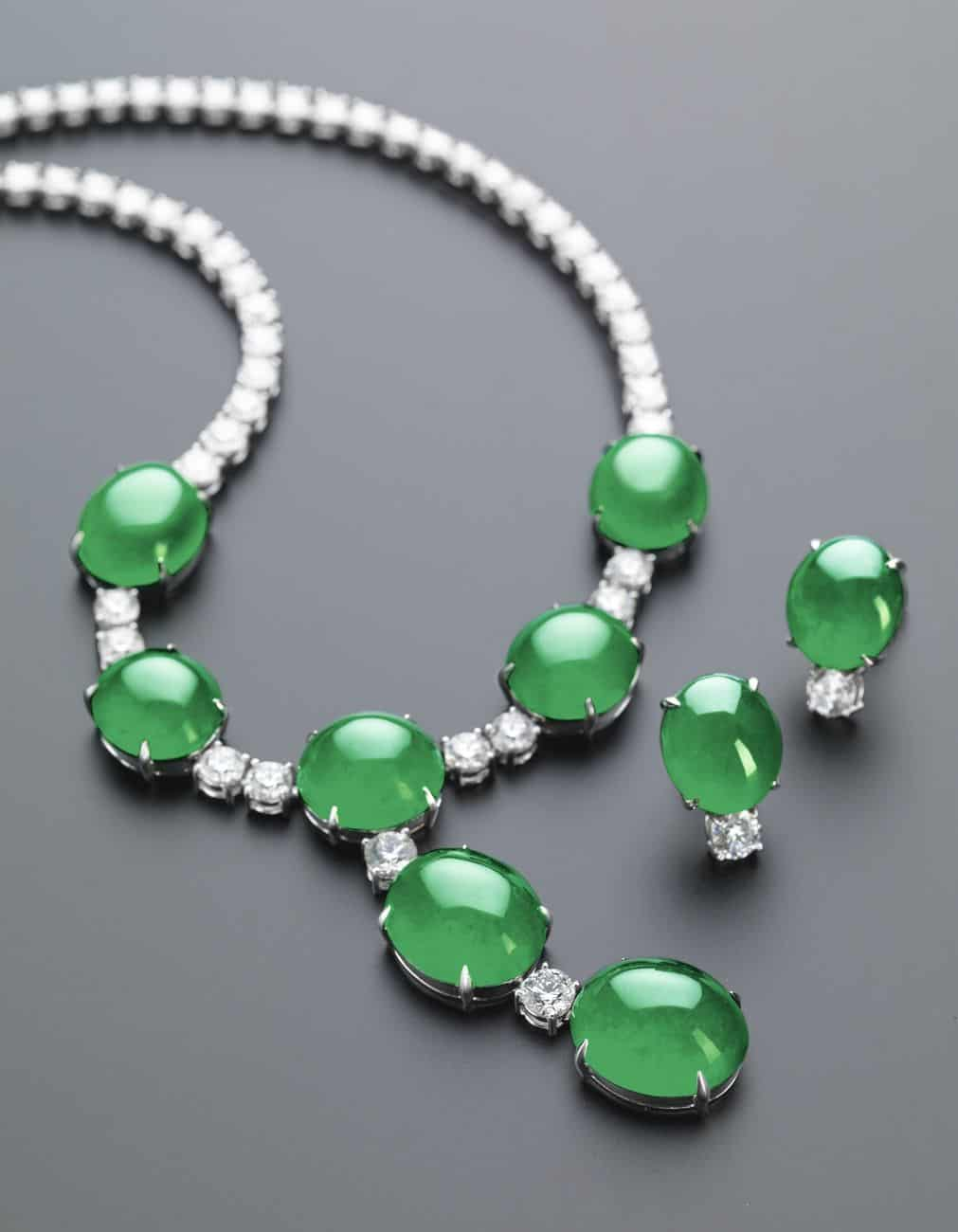 Lot 1779 - Important Jadeite and Diamond Demi-Parure