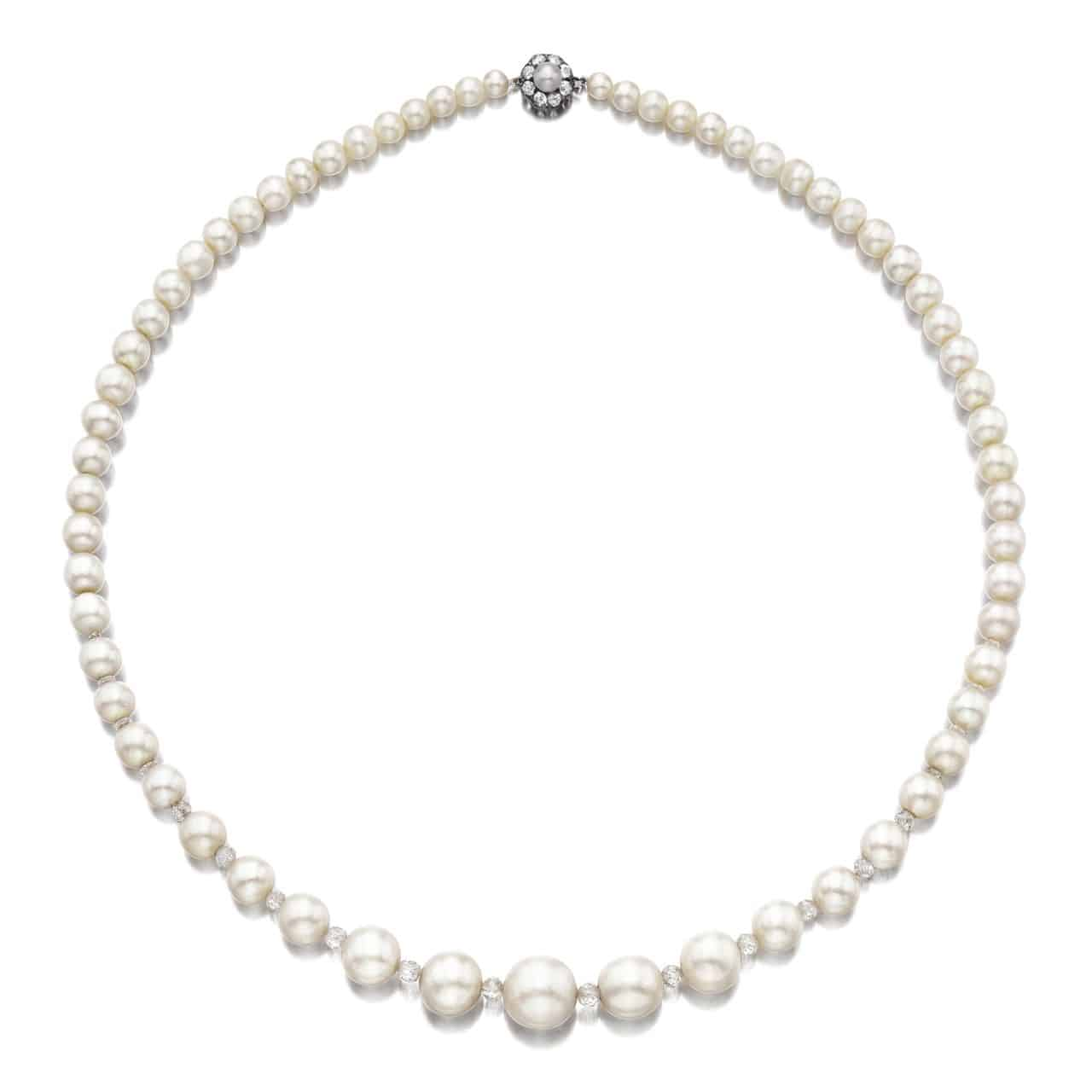 Important Natural Pearl and Diamond Necklace