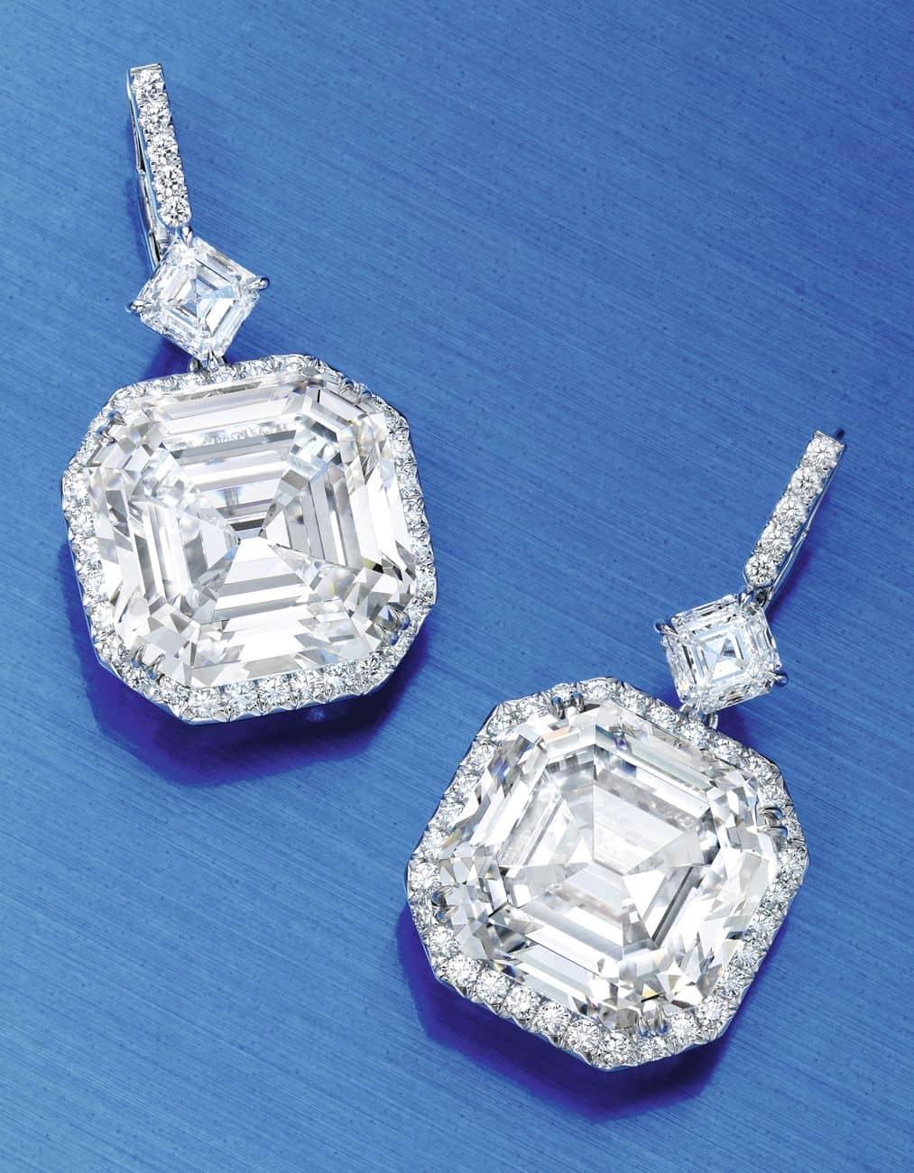 Lot 82 - Extraordinary Pair of Platinum and Diamond Earrings