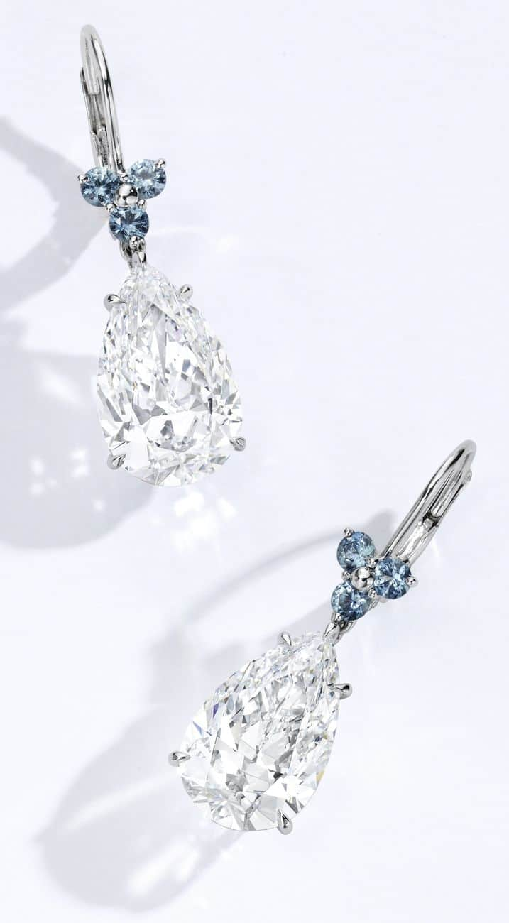 Lot 51 - Another View of the Magnificent Pair of Platinum, Diamond and Sapphire Earrings