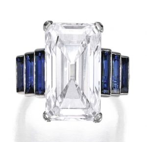 Lot 251 - Platinum, Diamond and Sapphire Ring, France