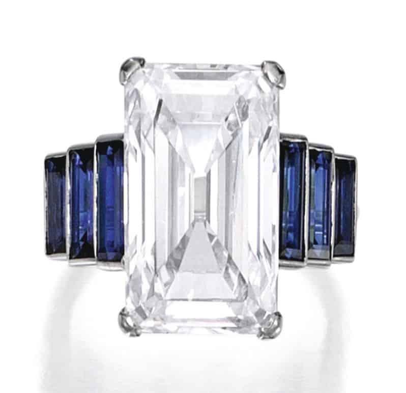 Lot 251 - Platinum, Diamond and Sapphire Ring, France