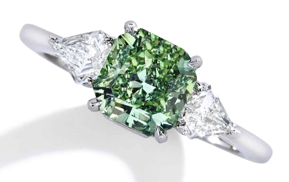Lot 101 - Rare Platinum, Fancy Vivid Green Diamond and Diamond Ring