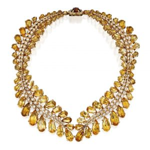 Lot 107 - 18K GOLD, CITRINE AND DIAMOND NECKLACE, STERLE, PARIS