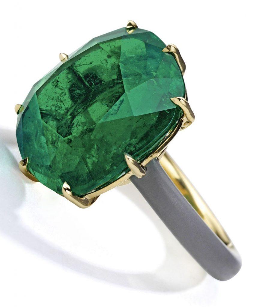 Lot 232 - 18 Karat Gold, Emerald and Ceramic Ring, Taffin