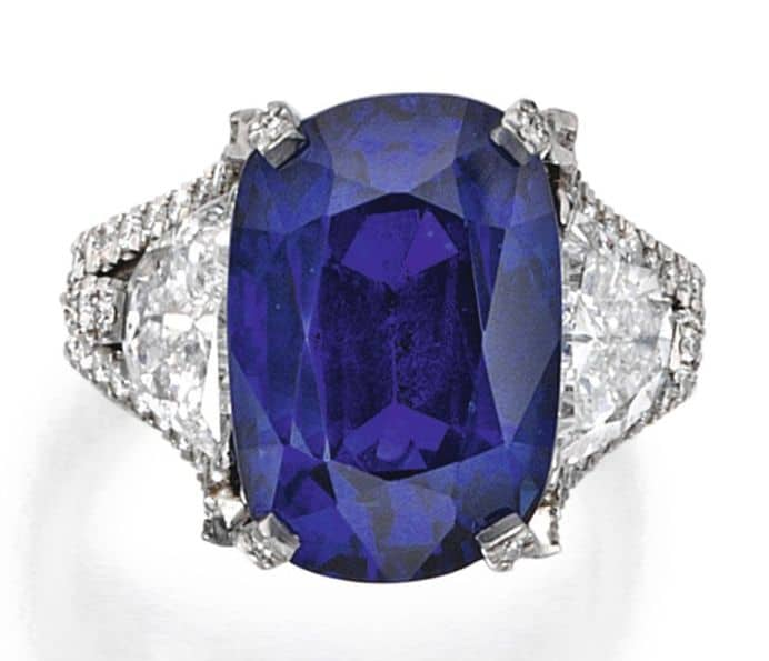 Lot 60 - Platinum, Sapphire and Diamond Ring