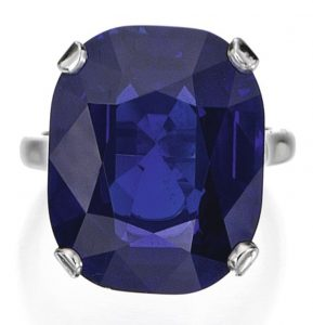 Lot 225 - Platinum and Sapphire Ring