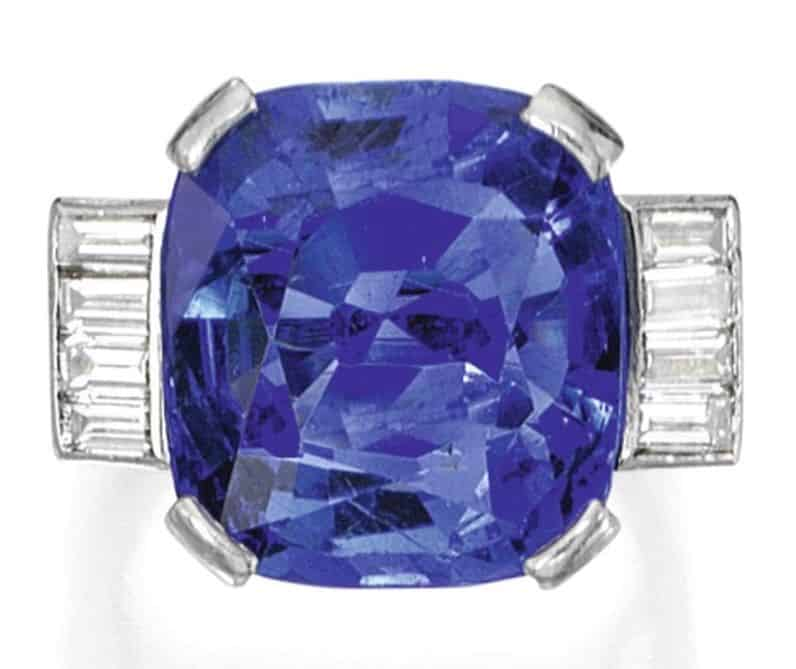 Lot 247 - Platinum, Sapphire and Diamond Ring, Gübelin