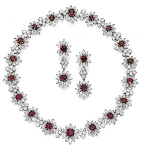 Lot 253 - The Necklace and Pair of Pendant Ear-Clips of the Suite of Platinum, Gold, Ruby and Diamond Jewelry