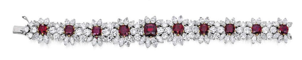 Lot 253 - the Bracelet of the Suite of Platinum, Gold, Ruby and Diamond Jewelry