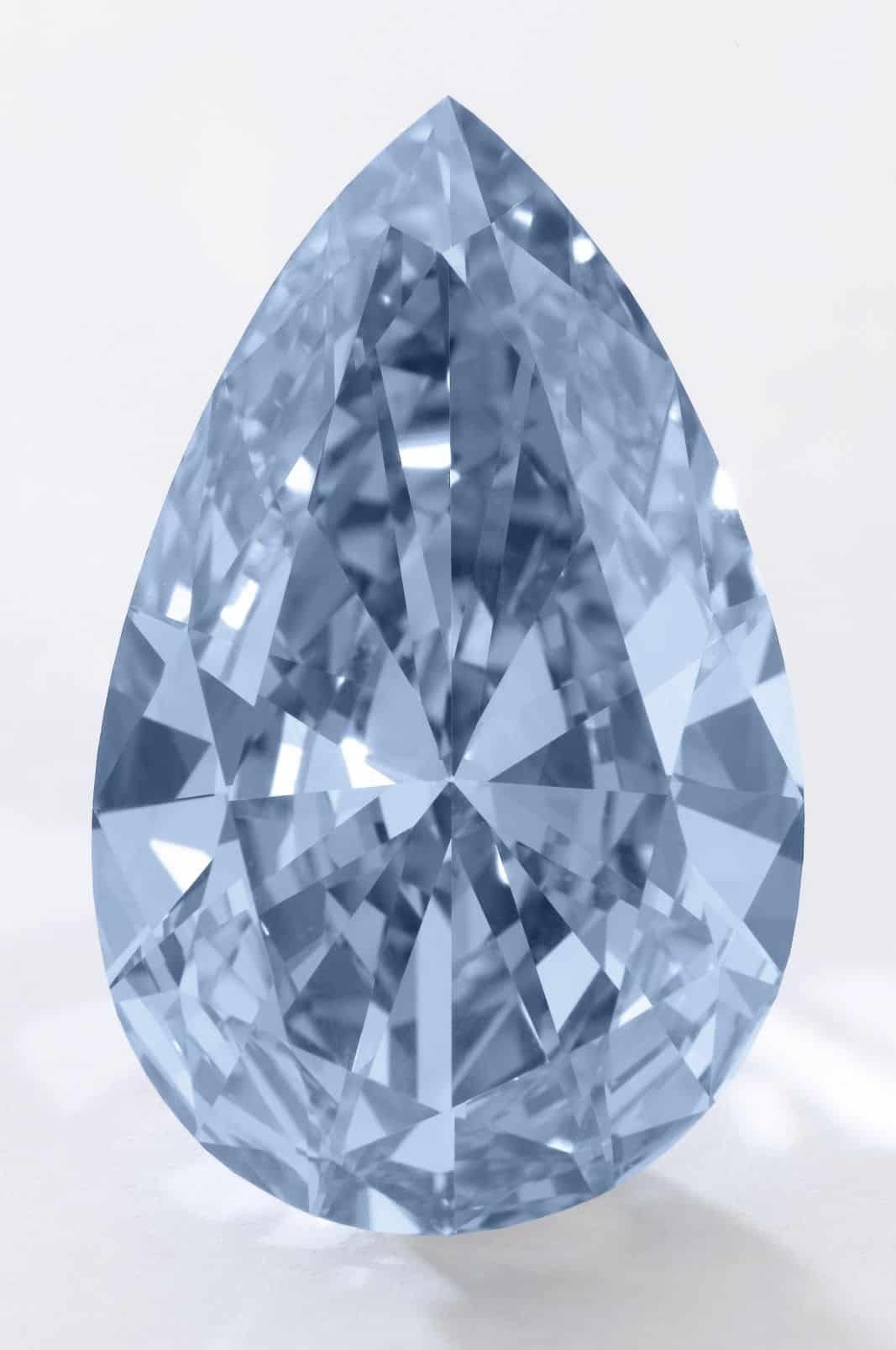 Lot 377 - 14.54-carat, pear-shaped, fancy vivid blue, internally flawless Apollo Diamond unmounted