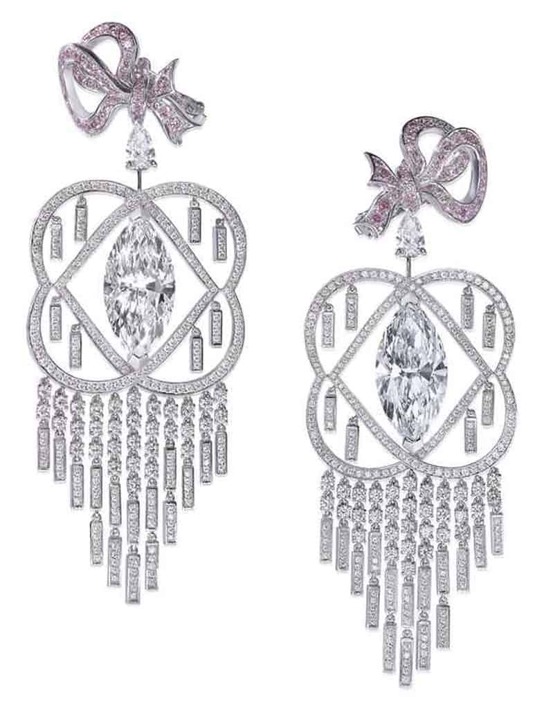 LOT 227 - LA VIE BOHÈME - A PAIR OF DIAMOND AND COLOURED DIAMOND CHANDELIER EARRINGS, BY BOEHMER ET BASSENGE