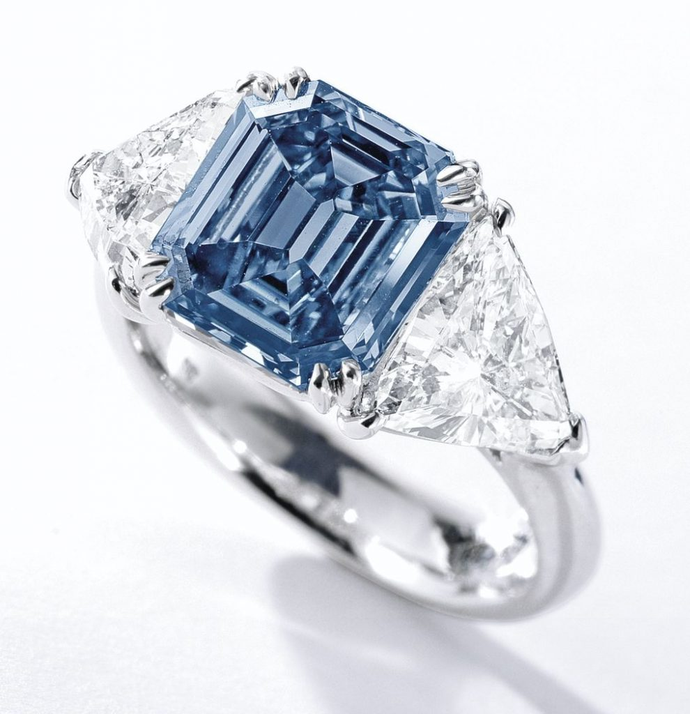 Lot 363A – Fancy vivid blue diamond ring