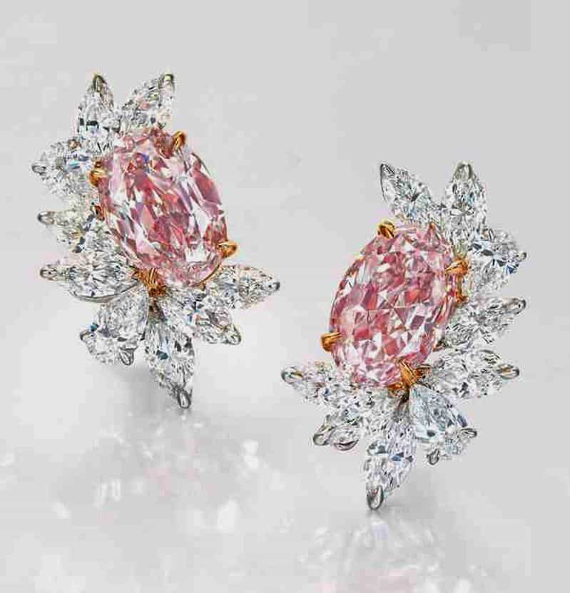 Lot 2074 - A CHARMING PAIR OF COLOURED DIAMOND AND DIAMOND EARRINGS