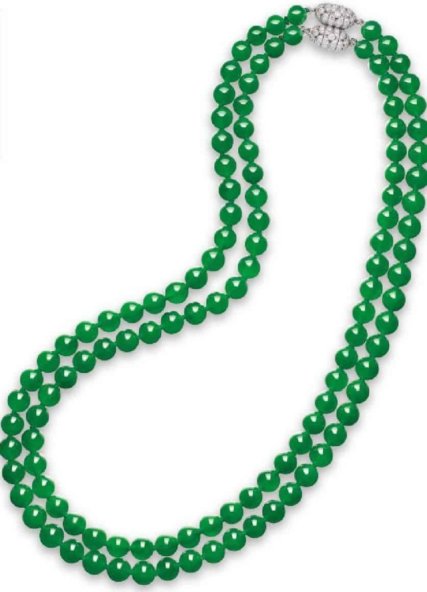 LOT 2065 - A SUPERB DOUBLE-STRAND JADEITE BEAD AND DIAMOND NECKLACE
