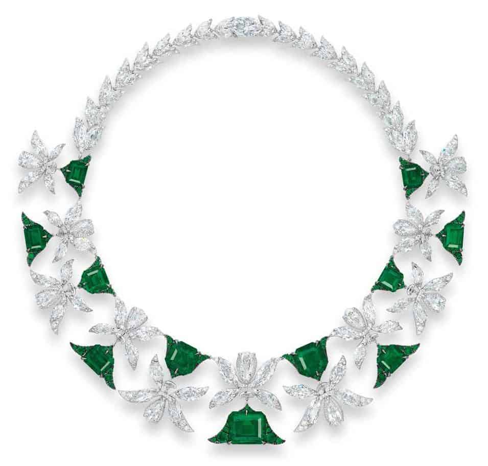 LOT 1942 - A MAGNIFICENT EMERALD AND DIAMOND 'PALMETTE' NECKLACE, BY EDMOND CHIN FOR THE HOUSE OF BOGHOSSIAN