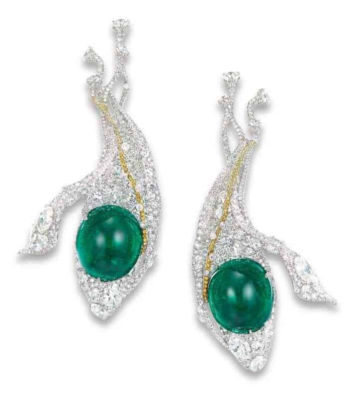 LOT 1939 - A CHARMING PAIR OF EMERALD, DIAMOND AND COLOURED DIAMOND 'SNOW PEAS' EAR PENDANTS, BY CINDY CHAO