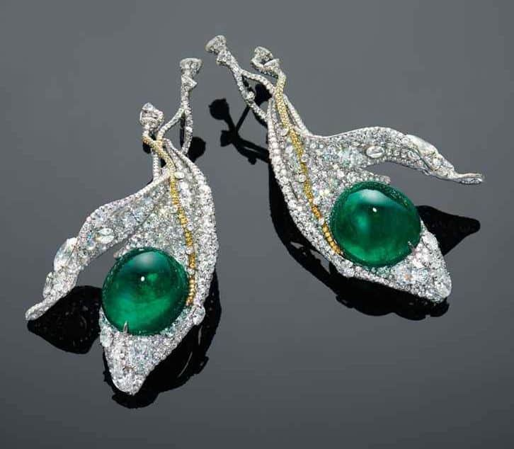 LOT 1939 - ANOTHER VIEW OF A CHARMING PAIR OF EMERALD, DIAMOND AND COLOURED DIAMOND 'SNOW PEAS' EAR PENDANTS, BY CINDY CHAO